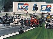 First Corner, 1998 Belgian GP multiple collision Forumula-1 art print Colin Carter
