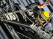 First Victory - Ayrton Senna John Player Lotus motorsport art print by Colin Carter