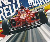 Scarlet Fever, Ferrari in Monza F1 motorsport art print by Colin Carter