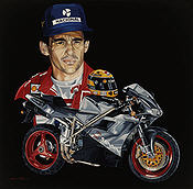 The Leged Lives On, Ayrton Senna Ducati 996 motorcycle art print by Colin Carter