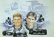 David Coulthard and Damon Hill Williams-Renault Kunstdruck von Craig Warwick