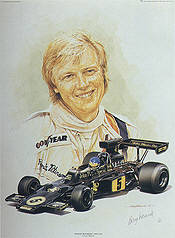 Ronnie Peterson Portrait, Lotus 72E Ford John Player Special F1 Kunstdruck von Craig Warwick