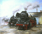 Aufbruch, Steam Locomotive 41-1144-9 and 38 3199 Railway Art by Daniela Koenig