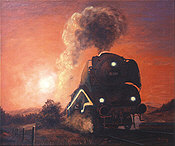 Sonnenuntergang III, Steam Locomotive 18-201 Railway Art by Daniela Koenig