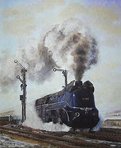 Winterdampf, Steam Locomotive 01-1102 Railway Art print by Daniela Koenig