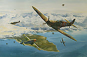 Clash of Aces, Spitfire of John Doe and Me-109 of Helmut Wick Aviation Art print by David Bryant