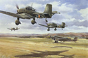 Junkers Ju-87 und Ju-52 aviation art print by Friedl Wuelfing