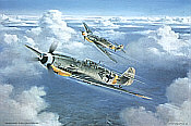 Messerschmitt Bf 109G-6 JG-52 aviation art print by Friedl Wuelfing