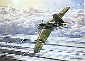 Raketenjaeger Messerschmitt Me-163 B-1 Komet JG-400 aviation art print by Friedl Wuelfing