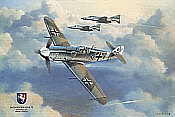 Westfalengeschwader, Me 109 JG 27 with F-4F JG 72 aviation art print by Friedl Wuelfing