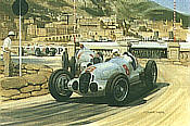 1937 Monaco Grand Prix, Carracciola and von Brauchitsch Mercedes 125 motorsport art print by Graham Turner