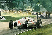 1938 Donington Grand Prix, Tazio Nuvolari Auto Union motorsport art print by Graham Turner