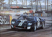 1966 Le Mans - Ford GT40 Mk.ll Motorsport Art Print by Graham Turner