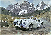 Alpine Trial - Jaguar XK120 motorsport art print by Graham Turner