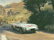 Battered but Victorious, Mercedes 300 SLR motorsport art print by Graham Turner