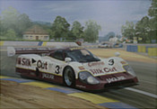 Jaguar Triumph at Le Mans 1990 - Jaguar XJR-12 motorsport art by Graham Turner