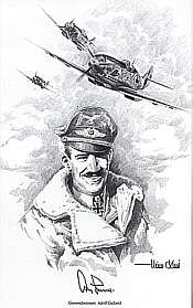 Adolf Galland Portrait, art print by Heinz Krebs