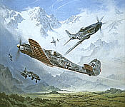 Ambush, Fw-190D-9, Me-262 and P-51 art print by Heinz Krebs