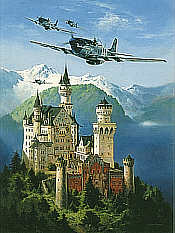 Kings of the Castle, P-51D Mustang over Neuschwanstein aviation art print by Heinz Krebs