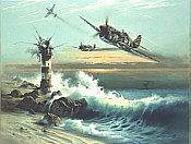 Lighthouse Louie, Curtiss P-40L aviation art print by Heinz Krebs