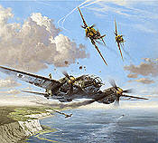 Narrow Escape, Heinkel He-111 and Me-109E aviation art print by Heinz Krebs