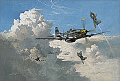Playing the last Ace, Me-163 and P-51 Mustang aviation art print by Heinz Krebs