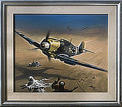 A Second of Fright - Messerchmitt Bf 109 original painting by Heinz Krebs
