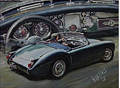 MG-A classic car art print by Hessel Bes