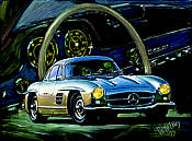 Mercedes 300 SL 1954 automobile art print by Hessel Bes