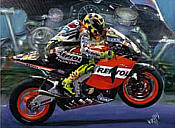 Valentino Rossi II, motorcycle racing art print by Hessel Bes