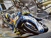 Valentino Rossi III, Grand Prix motorcycle racing art print by Hessel Bes