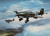 Hans-Ulrich Rudel, Junkers Ju 87 B-2 Stuka aviation art by Jerry Crandall