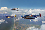 Almost Home, P-51D Mustangs from 352nd FG - Aviation Art by Jim Laurier