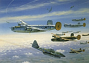 R-Bar Over Bielefeld, B-24 and Me 262 aviation art print by Jim Laurier