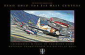 Reno Gold Poster - The First Half Century of Reno Air Races - Aviation Art by John D. Shaw