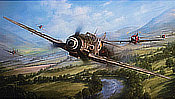 The Warrior and the Wolfpack, Guenther Rall's Me-109 pursued by P-47s - Aviation Art by John D. Shaw