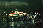 Night Departure, Lockheed Super Constellation aviation art print by John Young