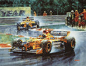 Jordan's First Victory, Damon Hill F1 motorsport art print by Juan Carlos Ferrigno