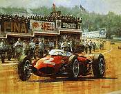 Sharknose at Spa, Wolfgang Berghe von Trips Ferrari 156 SN art print by Juan Carlos Ferrigno