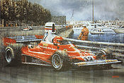 Start to Finish, Niki Lauda Ferrari 312T Monaco 1975 art print by Juan Carlos Ferrigno