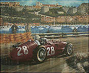 Victory for Moss in Monaco, Stirling Moss Maserati 250F art print by Juan Carlos Ferrigno
