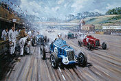 Back in the Race - R-Type, MG, Bugatti and Era motorsport art print by Kevin Wash