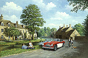 Healey in the Cotswolds, Austin Healey 3000 automobile art by Kevin Walsh