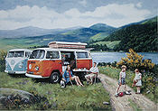 Life on the Open Road, VW Camping Bus Automobilkunst von Kevin Walsh