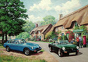 MG Rubber, MGB and MGB GT Automobil Kunstdruck von Kevin Walsh