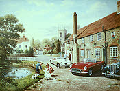 Noggin and Natter - MGB, MGA and MGTD automobile art print by Kevin Walsh