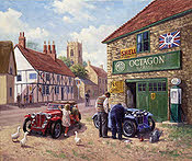 Octagon Garage, MG Automobile Art Print on Canvas by Kevin Walsh
