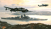 Bismarck into Battle, Battleship Bismarck and Me-110 art print by Mark Postlethwaite