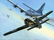 Close Combat, Focke Wulf 190 and B-17 aviation art print by Mark Postlethwaite