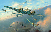 Combat over Croydon, RLM Bf-110 aviation art print by Mark Postlethwaite